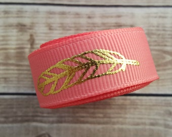 5/8 inch CORAL FEATHER grosgrain ribbon