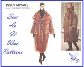 Uncut Issey Miyake Vogue 1456 Oversized Coat Cape Stand Up Shawl Caplet Collar Sewing Pattern Designer Original Sizes 6 8 10 12 14 1990s