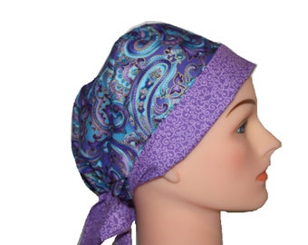 Scrub Hat Surgical Scrub Cap Chemo Hat Tie Back / Flirty Front Fold Pixie Style / Blue Purple Paisley Swirls 2nd Item Ships FREE