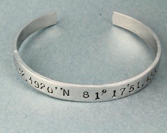 Coordinates Bracelet - Cuff Bracelet - Silver Bracelet - Adjustable Bracelet - Address Bracelet - Latitude Bracelet - Longitude Bracelet