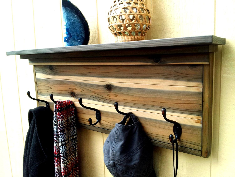 wall coat rack with shelf rustic weathered cedar coat rack. Black Bedroom Furniture Sets. Home Design Ideas