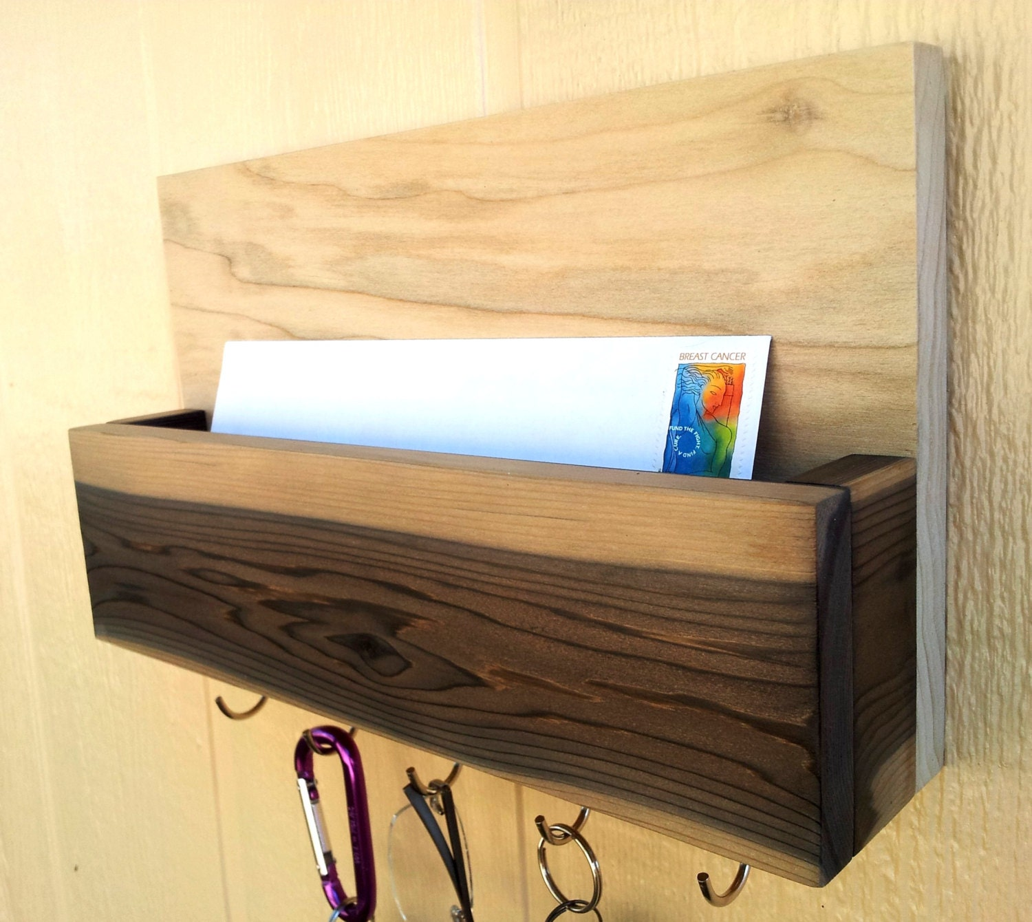 Mail And Key Holder Letter Holder Rare Grain Cedar And