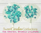 Teal Navy and Light Blue Sparkle Lollipops, Wedding Lollipops, Candy Lollipops, Lollipops, Sweet Caroline Confections-Set of Six