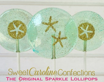 Beach Lollipops, Beach Wedding, Blue Wedding Favor, Starfish Lollipops, Sparkle Lollipops, Sweet Caroline Confections -Set of Six