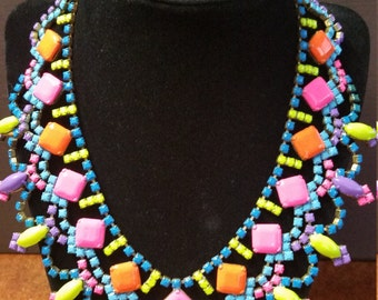 Hand painted neon vintage rhinestone statement necklace - One of a kind - Stunning!!