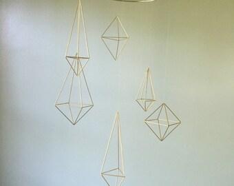 6 gold geometric shape, wedding decor, baby mobile, modern nursery, gold wedding, geometric wedding