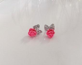 Rose & Bow Earrings, Pink