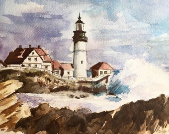 "Lighthouse Watercolor painting, Watercolor painting original, Watercolor Landscape, Lighthouse, sea, seaside - 9""x12"" Watercolor on paper"