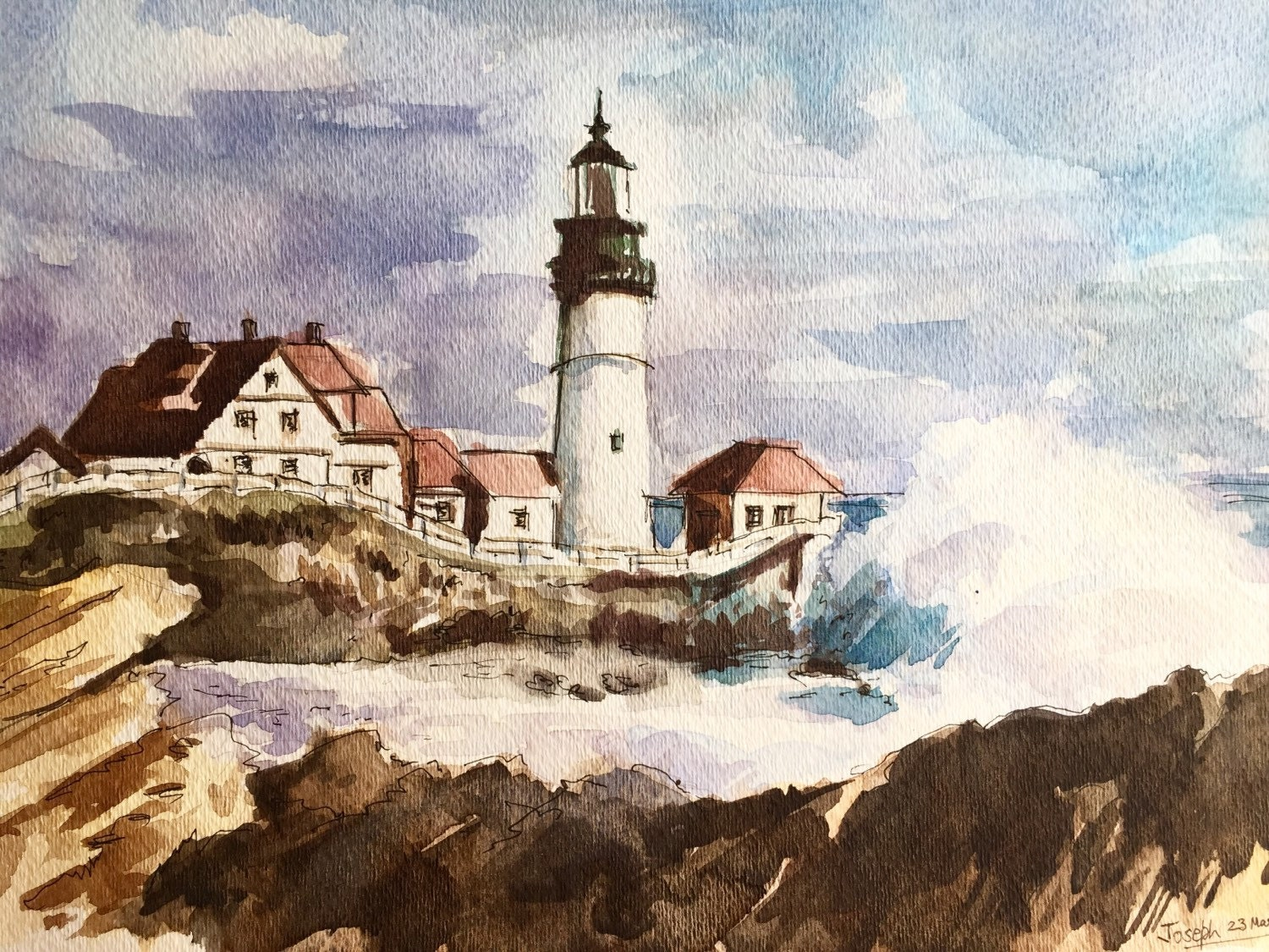 Lighthouse Watercolor painting Watercolor painting original