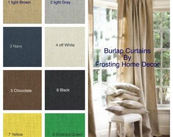 1 Pair Burlap Curtains for Bedrooms, Kitchens, Living rooms, Kids, and Nurseries New Shop special