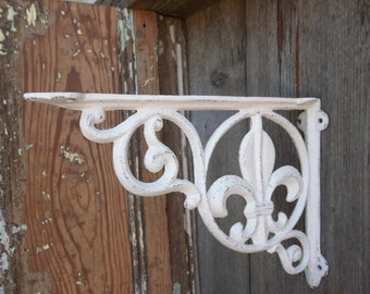 Fleur De Lis Metal Shelf Brackets Antique White Country Home Decor Set