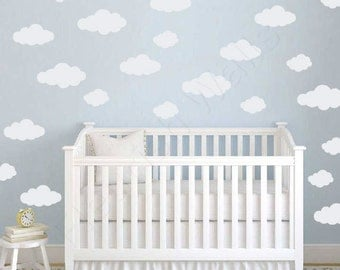 Clouds Decal - Baby Girl Nursery Wall Decal -  Baby Girl Wall Decal - Baby Boy Nursery - Baby Boy Wall Decal - Nursery Decal DP013