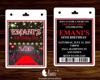 Red Carpet Birthday Invitation, VIP Invitation Pass, Red Carpet VIP Badge