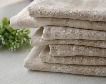Natural Beige Cotton Linen Fabric for craft, DIY Home Decor Plaid & Stripe Pattern-1/2 Yard