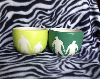 20 ounce Green Zombie Attack Bowls ceramic pottery OHIO USA hand made