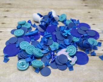 Destash, blue plastic game pieces and more, mixed media, art projects, junk drawer, repurpose