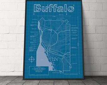 Buffalo Map / Original Artwork / New York Map Art / Wall Art / Birthday Gift / Street Map / New York Map / Wedding Gift / Graduation Gift
