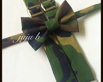 Camoflauge suspenders and bow tie set, camo bow tie, camo suspenders, green bow tie, green suspenders, baby bow tie, kids bow tie, bow tie