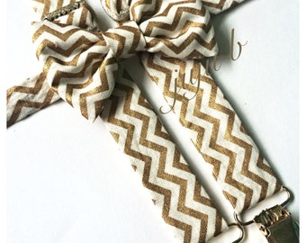Gold Suspenders and Bow Tie, Bow Tie and suspenders Set, chevron suspenders, men's suspenders, baby suspenders, gold bow tie, gold chevron