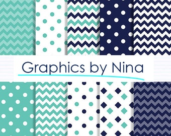 50% SALE INSTANT DOWNLOAD 10 Navy Teal  Digital paper pack  for Personal and Commercial use Scrapbooking
