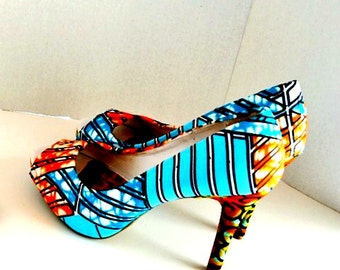 Blue And Orange African Print Peep Toes Shoes, Multi-Color African Fabric Platform Shoes -Platform Wedding Shoes -High Heels - Platforms