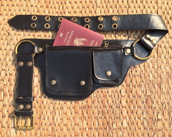Leather Hip Bag | Utility Belt Bag | Festival Fanny Pack | Smartphone, Passport, Money Pocket Belt  | Steampunk Burning Man - The Hipster