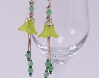 Dark Yellow, Bell Flower Earrings, Lucite Flowers, Dangle Earrings, Ice Mint Green Bicones, Spring, Summer