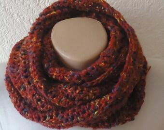 Crochetted burgandy scarf , burgandy crochet infinity scarf burgandy snood