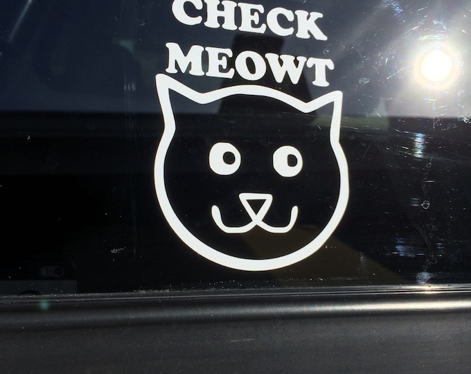 "Funny ""Check Meowt"" cat decal!"
