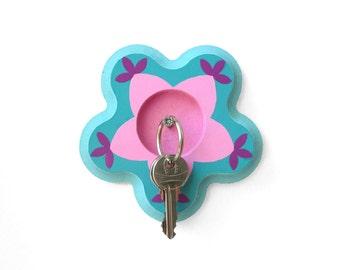 Floral Key Rack, Wall Key Holder, Wood key Rack