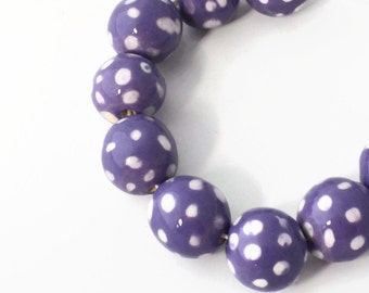 Handmade ceramic beads from South Africa, African Beads, African Wax Print Beads, Lavender