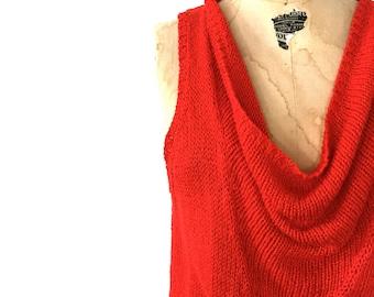 SALE / Vintage Red Silk Cowl Sweater / Size Medium