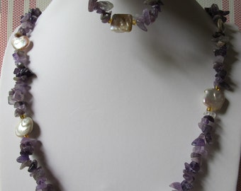 Amethyst with Square Pearl Bracelet and Necklace Set B&N4