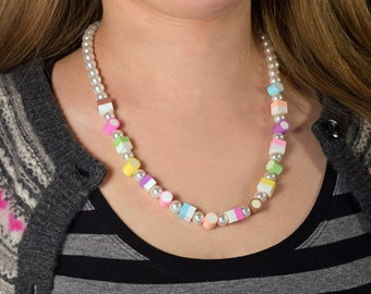 Long Dolly Mixtures Necklace Polymer Clay Sweets 21""