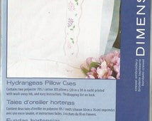 Hydrangeas Pillowcases to EMBROIDER / Dimensions Needlecrafts / Set of 2 Pillowcases / Crewel Embroidery / Lavender & Pink Hydrangaes