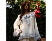 Poet Tunic - Hand Dyed Ombre Slate blue Romantic Linen Gauze Tunic Lagenlook Plus Size Blouse OOAK