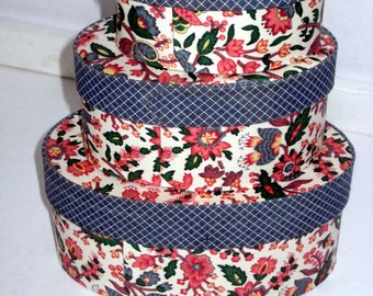 Handmade, Signed, Oval, Fabric-covered Bandboxes, Set of 3
