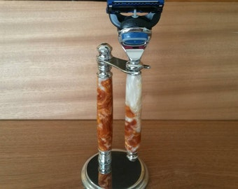 Acrylic Gillette Fusion Razor and Stand Combination