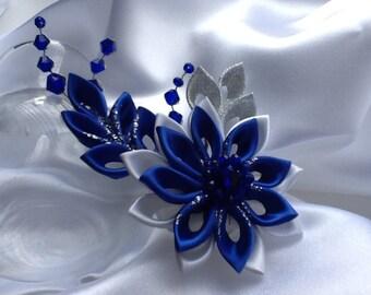 Hair Clip - Cobalt Blue Royl Blue White Silver Kanzashi Flower with Swarovski Bicone Crystals - Wedding Flowers