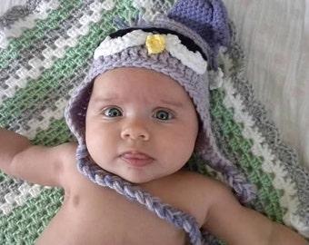 Drowsy Owl crochet hat - handmade - baby crochet - baby hat - baby shower gift - owl hat - kids crochet - sleepy owl hat - crochet owl hat