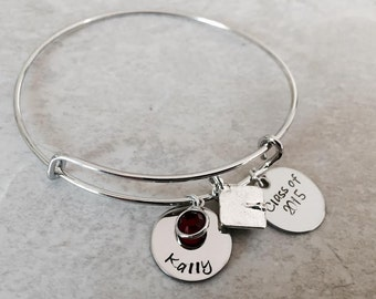 Hand stamped personalzied graduation bracelet graduation gift class of bangle bracelet with name charm swarovski crystal high school college