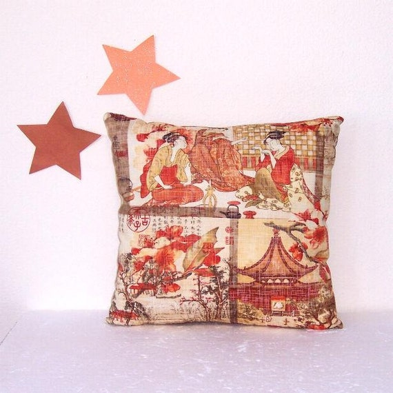 Asian Themed Pillow Cover 16 Oriental Copper Orange