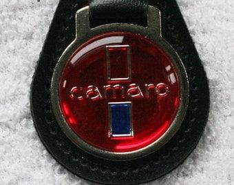 Chevy Camero Key Chain ~ Black Leather Fob Red Emblom