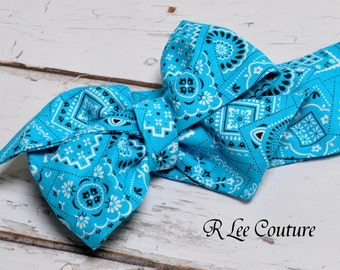 Turquoise Bandana Headwrap - Bow Headwrap - Turquoise Head Wrap - Turquoise Hair Bow