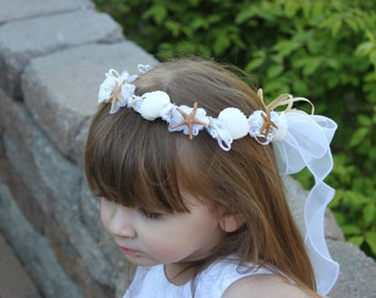 Flower Girl Seashell Headpiece/ Beach themed/ Wedding
