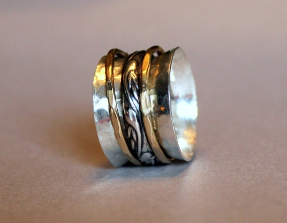silver and gold spinner ring mixed metal worry ring mixed. Black Bedroom Furniture Sets. Home Design Ideas