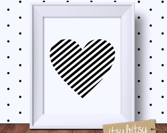 Heart Print, Love Print, Kids decor, Nursery print, Monochrome print, Scandinavian Home decor, Modern nursery decor, nursery wall art