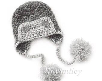 Aviator Baby Hat, Aviator Boy Hat  Newborn Photo Prop, Earflap Baby Hat, Crochet Baby Boy Hat, Hats for Boys, Pompom Baby Hat, Winter