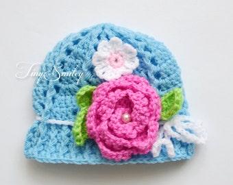 Sky Blue Baby Girl Hat, Blue Crochet Baby Girl Hat, Flowers Baby Hat, Crochet Baby Hat, Two Flower Baby Girl Hat, Newborn Hat, Photo Prop