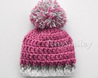 Raspberry Baby Hat, Pom Pom Baby Girl Hat, Red Baby Pompom Hat, Crochet Pom Pom Baby Hat, Newborn Pompom Hat, Infant Baby Girl Hat, Pom Pom